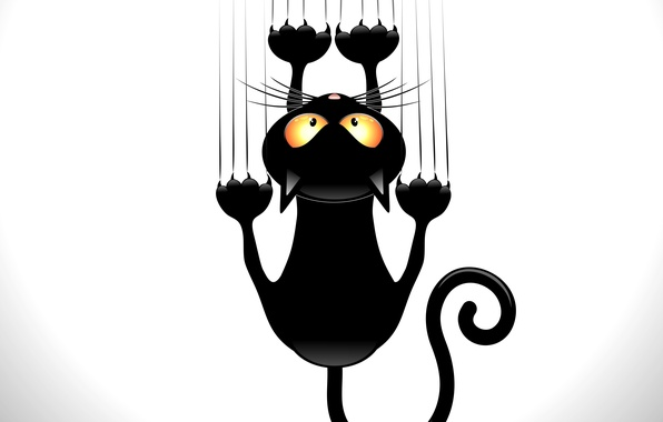 Picture cat, look, animal, black, vector, tail, claws