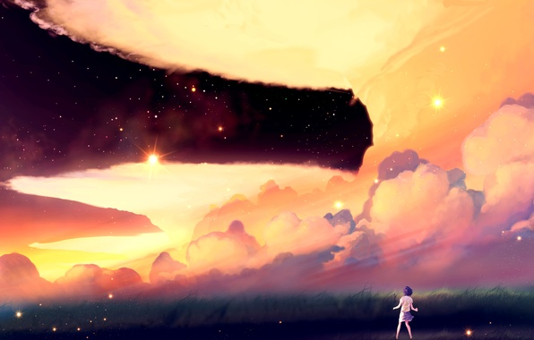 Picture the sky, girl, the sun, stars, clouds, sunset, nature, anime, art, akio-tank