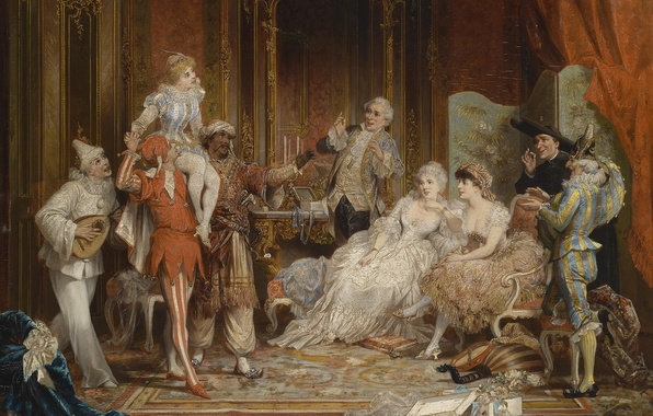 Picture ladies, picture, Austria, mask, Palace, the conversation, Austria, picture, palace, masks, Vienna, Vienna, 19-th century, …