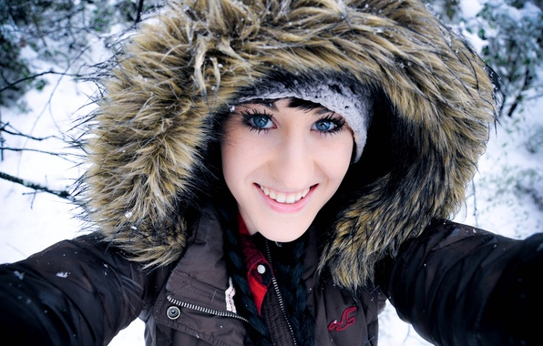 Picture winter, eyes, look, girl, snow, face, smile