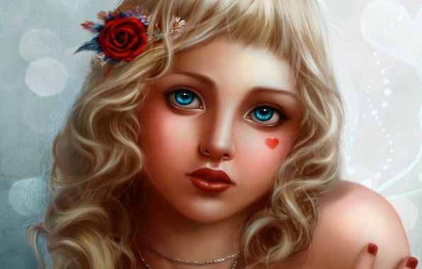 Picture look, decoration, child, blonde, blue eyes, heart, rose in her hair, Bubbly Face