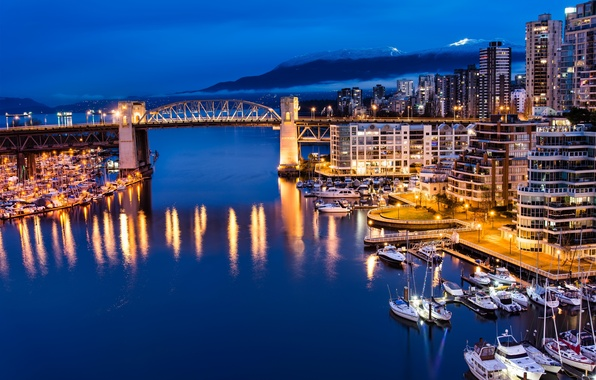 Picture forest, mountains, Marina, home, yachts, the evening, port, Canada, Vancouver, Canada, boats, night, Vancouver, bridge., …
