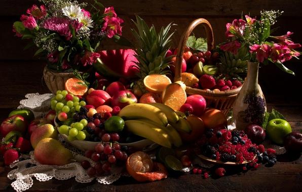 Picture STRAWBERRY, FLOWERS, KIWI, BOUQUET, Still life, BASKET, BANANA, WATERMELON, APPLE, RASPBERRY, LEMON, VASE, ORANGE, PEAR, …