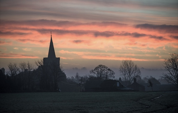 Picture the sky, clouds, trees, nature, dawn, glade, Morning, temple, the village, Church