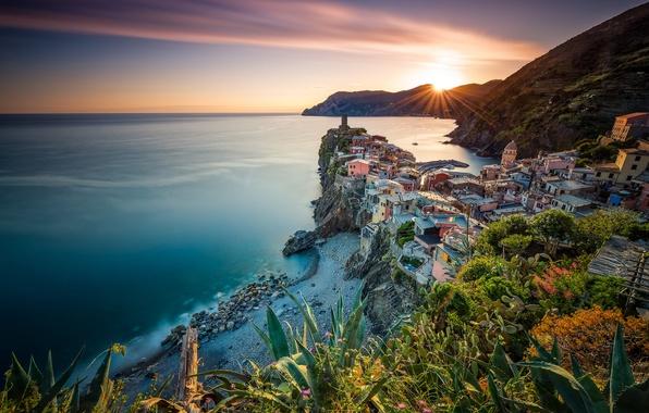 Picture sea, sunset, coast, Italy, panorama, Italy, The Ligurian sea, Vernazza, Vernazza, Cinque Terre, Cinque Terre, ...