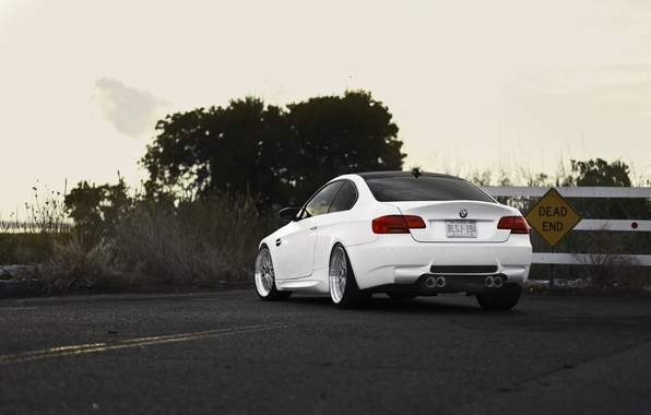 Picture road, white, bmw, BMW, white, stalled, back, e92