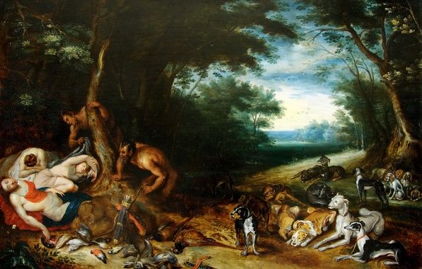 Photo wallpaper Satyr and Sleeping nymph, picture, Jan Brueghel the younger, mythology