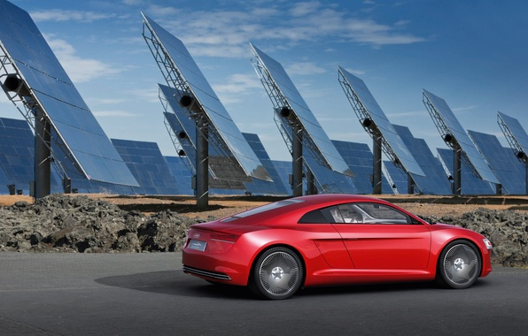 Picture audi, e-tron, tron, solar panels