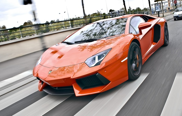 Picture road, speed, lamborghini, road, speed, orange, aventador, lp700-4, Lamborghini, aventador, crosswalk