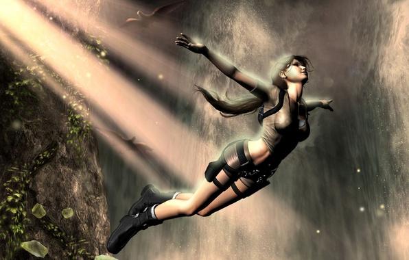Picture girl, birds, rock, fiction, jump, waterfall, Tomb Raider, Lara Croft
