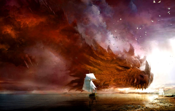Picture sea, night, storm, fiction, dragon, ships, storm, fantasy, cloud