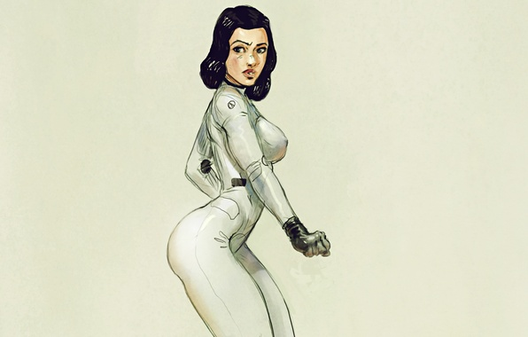Picture girl, art, costume, suit, post apocalyptic, space suit