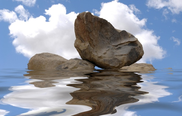 Picture water, rock, reflection, stone, ruffle
