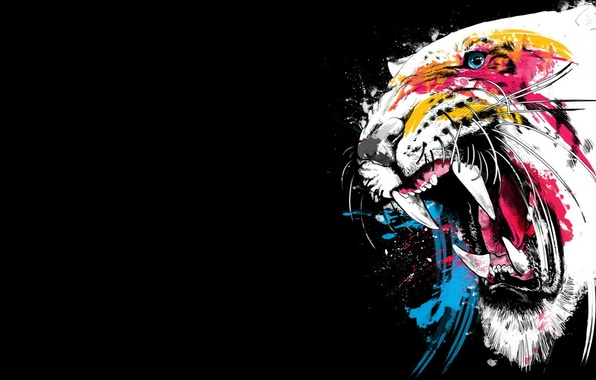 Picture face, color, tiger, background, paint, fangs, grin