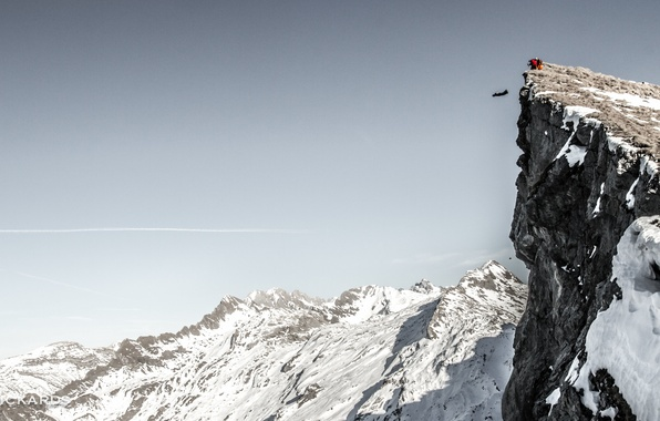 Picture winter, the sky, snow, mountains, rocks, parachute, container, pilot, extreme sports, wingsuit, base jumping, beyser, …