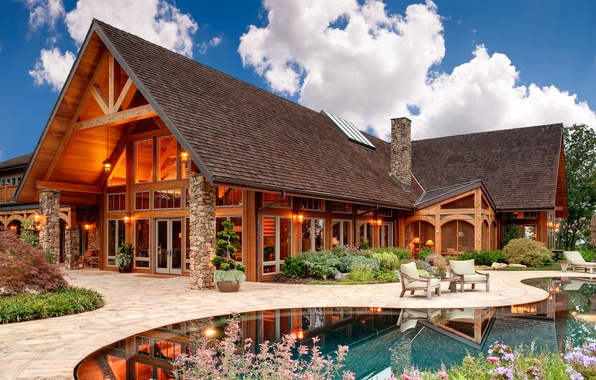 Picture house, stone, pool, chairs, wooden, house, pool, home, exterior, lounger.