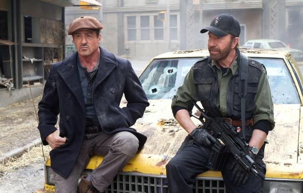 Picture Sylvester Stallone, Chuck Norris, Chuck Norris, Sylvester Stallone, The Expendables 2, The expendables 2, Barney …