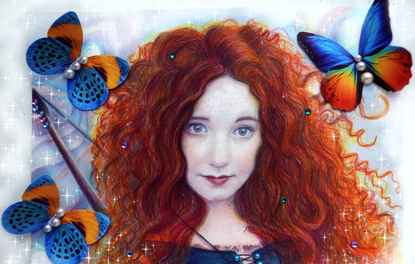 Picture look, girl, hair, beauty, art, red