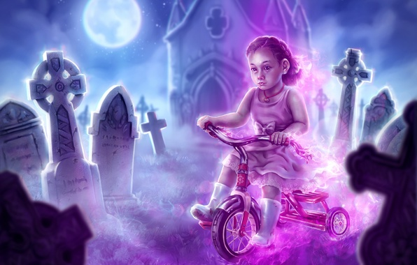 Picture bike, Ghost, girl, cemetery, the crypt