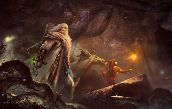 Picture forest, girl, horse, dragon, horse, art, torch, guy, travelers