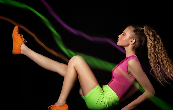 Picture girl, pose, sneakers, tail