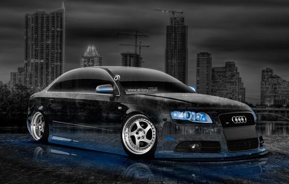 Picture Audi, Auto, Night, Audi, Blue, The city, Neon, Machine, Tuning, Wallpaper, Blue, City, Car, Art, …