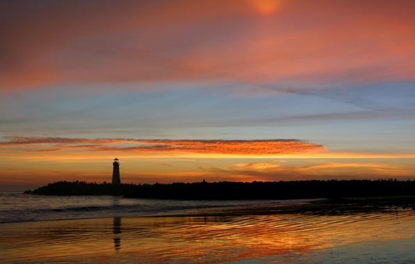 Photo wallpaper lighthouse, reflection, sunset
