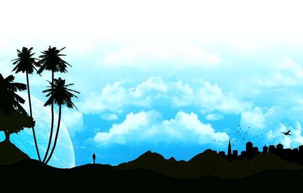 Picture the sky, clouds, landscape, the city, Palma, people, silhouette, profile
