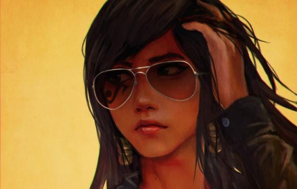 Picture girl, glasses, art, casual, overwatch, pharah, Fareeha Amari