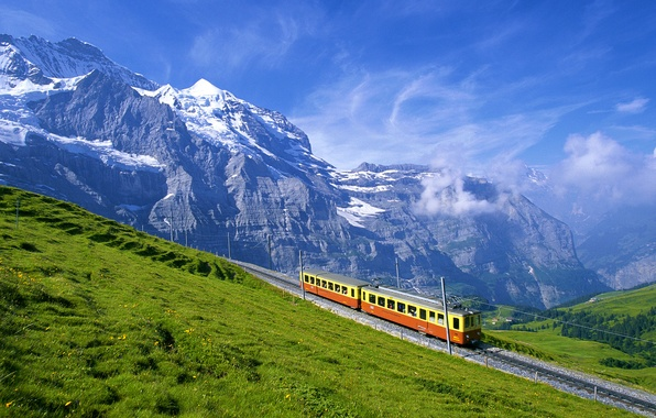 Picture mountains, Alps, the car, railroad