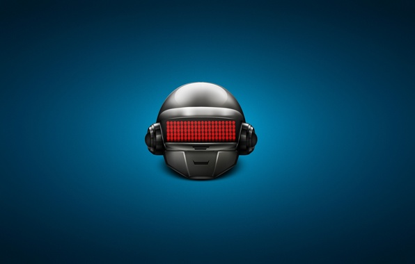 Picture techno, helmet, house, blue background, daft punk, electronic rock