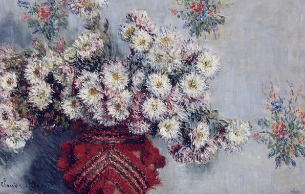 Photo wallpaper flowers, picture, still life, Claude Monet, Vase with Chrysanthemums
