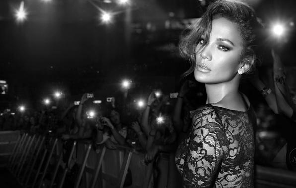 Picture look, face, the crowd, dress, actress, black and white, singer, Jennifer Lopez, fans, Jennifer Lopez, …