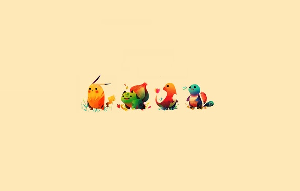 Picture Pikachu, Pokemon, charmander, bulbasaur