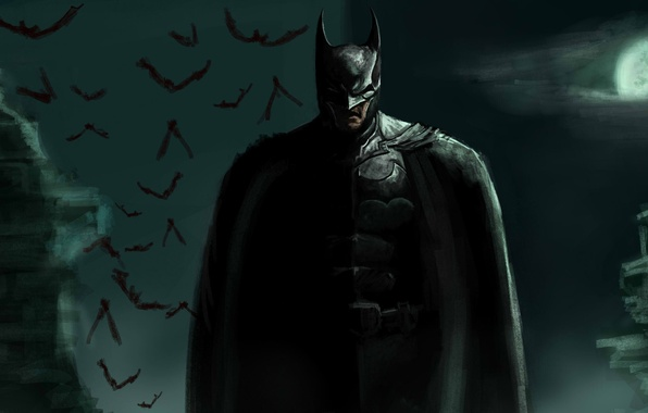 Picture the moon, art, hero, costume, Batman, male, bats, Batman, Bruce Wayne, Bruce Wayne
