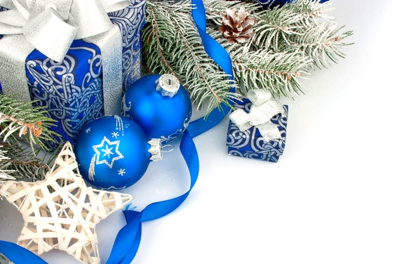 Picture decoration, balls, New Year, Christmas, gifts, Christmas, balls, blue, New Year, gift, decoration