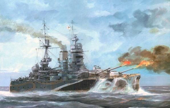 Picture wave, the ocean, flame, figure, ship, battle, art, Navy, shots, WW2, UK, linear, Relatives, Rodney