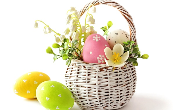 Picture flowers, eggs, spring, Easter, pastel, flowers, spring, eggs, easter, delicate, basket, pastel