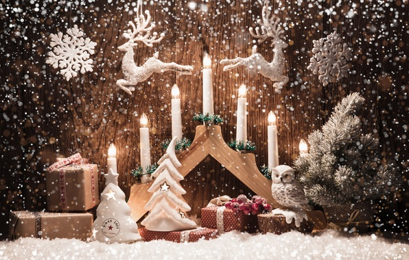 Picture snowflakes, toys, candles, deer, Merry Christmas