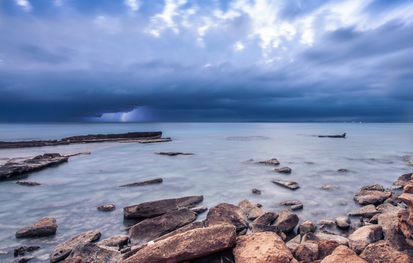 Picture the storm, the sky, clouds, stones, the ocean, shore, lightning, Sea, blue