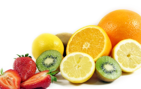 Picture lemon, orange, kiwi, strawberry, fruit, banana