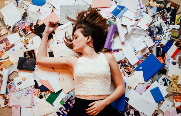 Picture girl, blouse, lips, hair, pictures, letters, skirt, mess, postcards