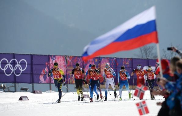Picture snow, flag, Norway, skiers, Russia, flags, Sochi 2014, The XXII Winter Olympic Games, Sochi 2014, …