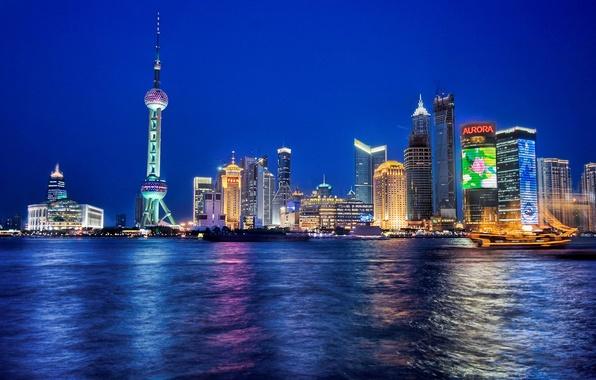 Picture sea, night, city