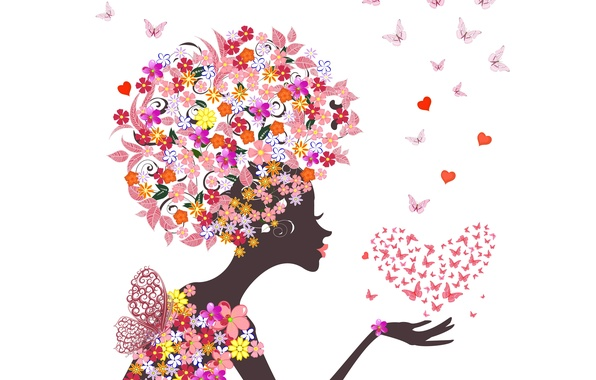 Picture girl, butterfly, flowers, abstraction, hearts, girl, flowers, hearts, abstraction, butterflies