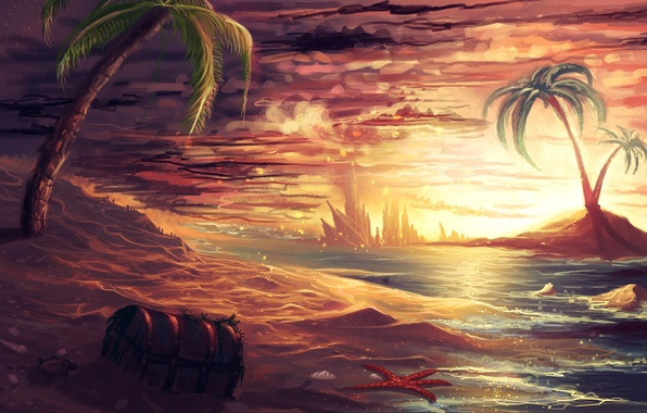 Picture sand, sea, palm trees, island, art, starfish, chest