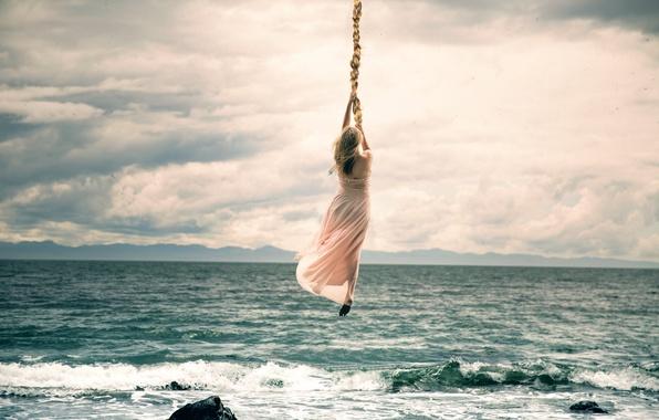 Picture girl, surf, braid, flight, Lichon, Hold on