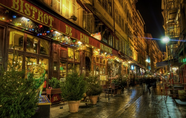 Picture night, people, street, France, Lyon