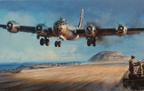 Picture flame, war, smoke, figure, art, bomber, the plane, landing, the airfield, motor, American, WW2, B-29, …