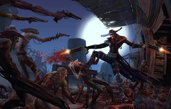 Picture the moon, zombies, meat, cowboy, revolver, corpses, West, wild, the saloon